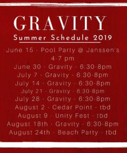 Gravity Summer Schedule